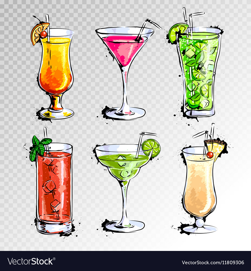 Hand drawn of set of cocktails