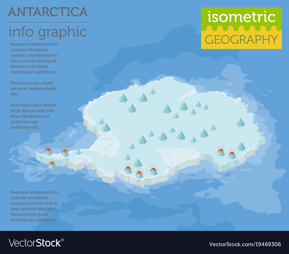 Isometric 3d antarctica physical map elements