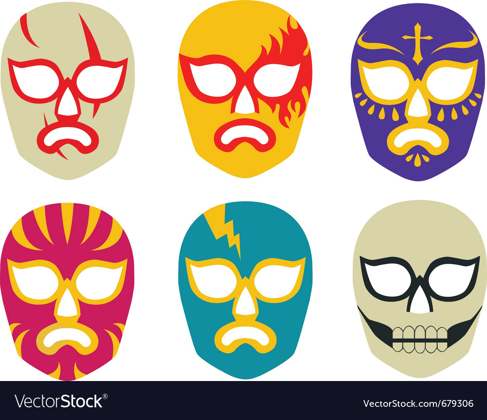 Lucha Libre Mexican Wrestling Masks Vector Image