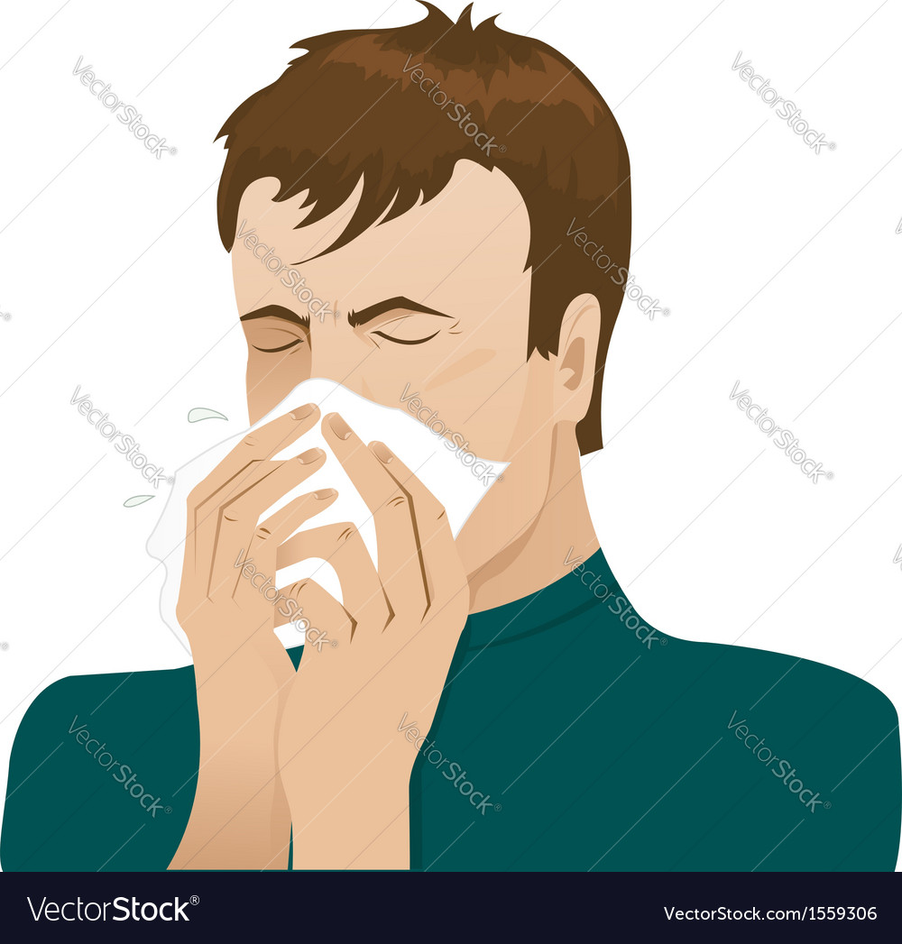 Man sneezing in handkerchief