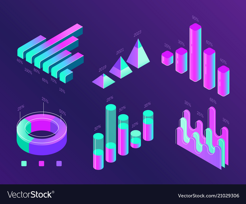 Modern isometric business infographic percentage