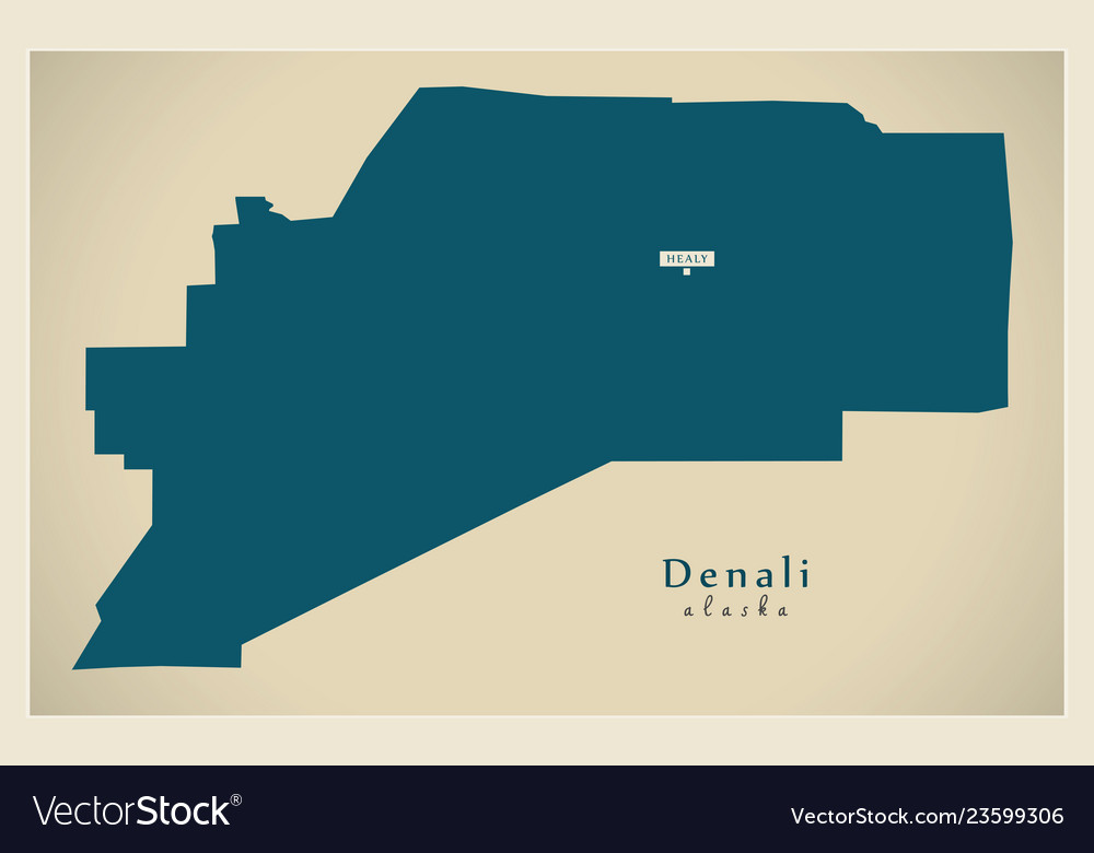 Modern Map Denali Alaska County Usa Royalty Free Vector