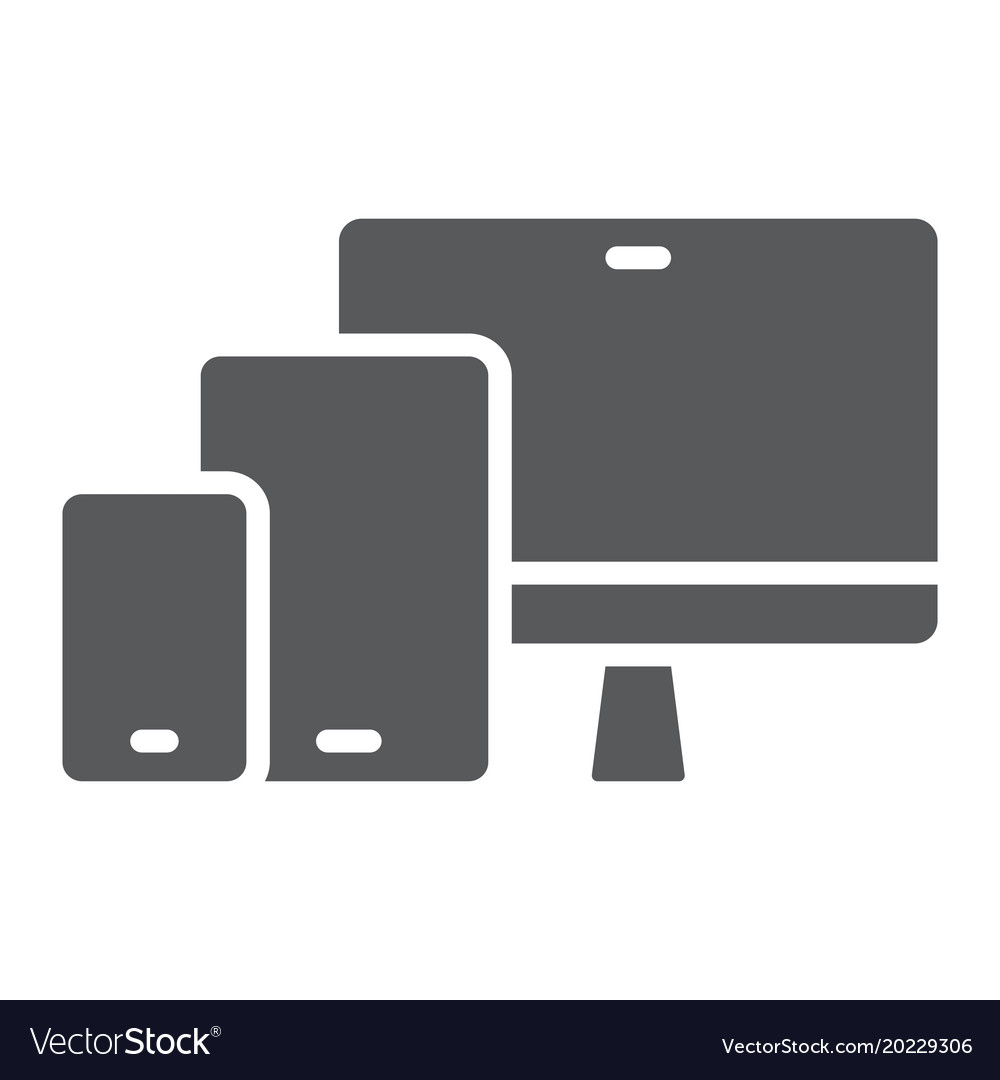 Responsive glyph icon computer and laptop