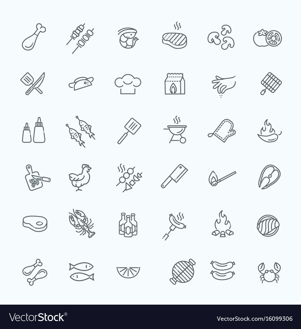 Simple set of barbecue related line icons
