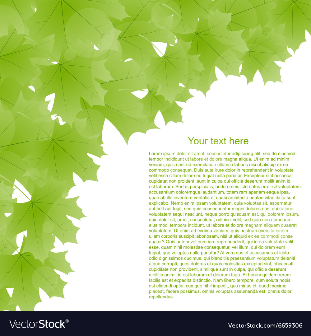 Spring background with green leaves and place for
