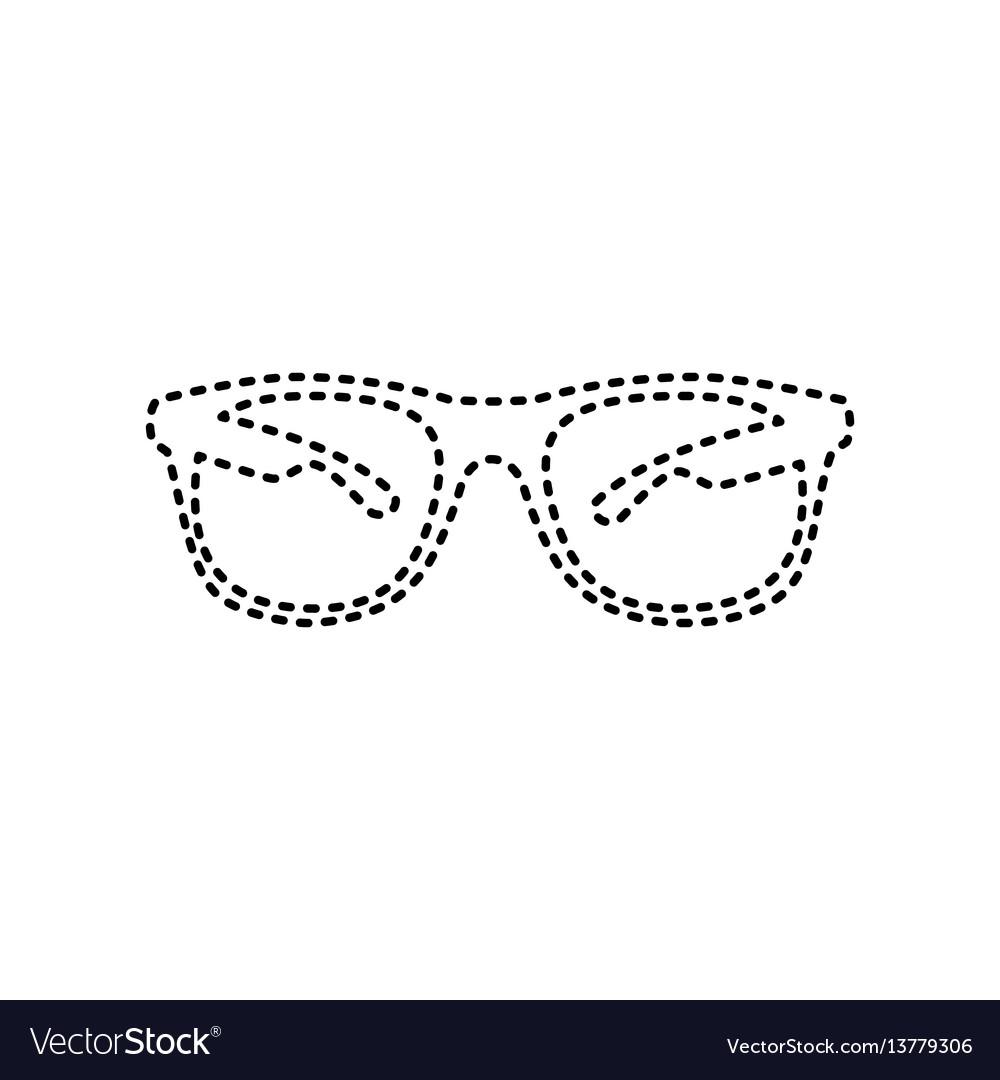 Sunglasses sign black dashed