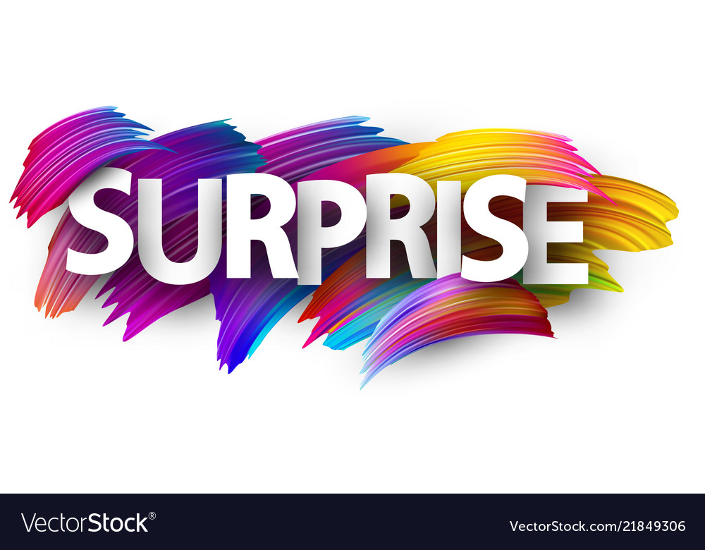 Surprise paper poster with colorful brush strokes