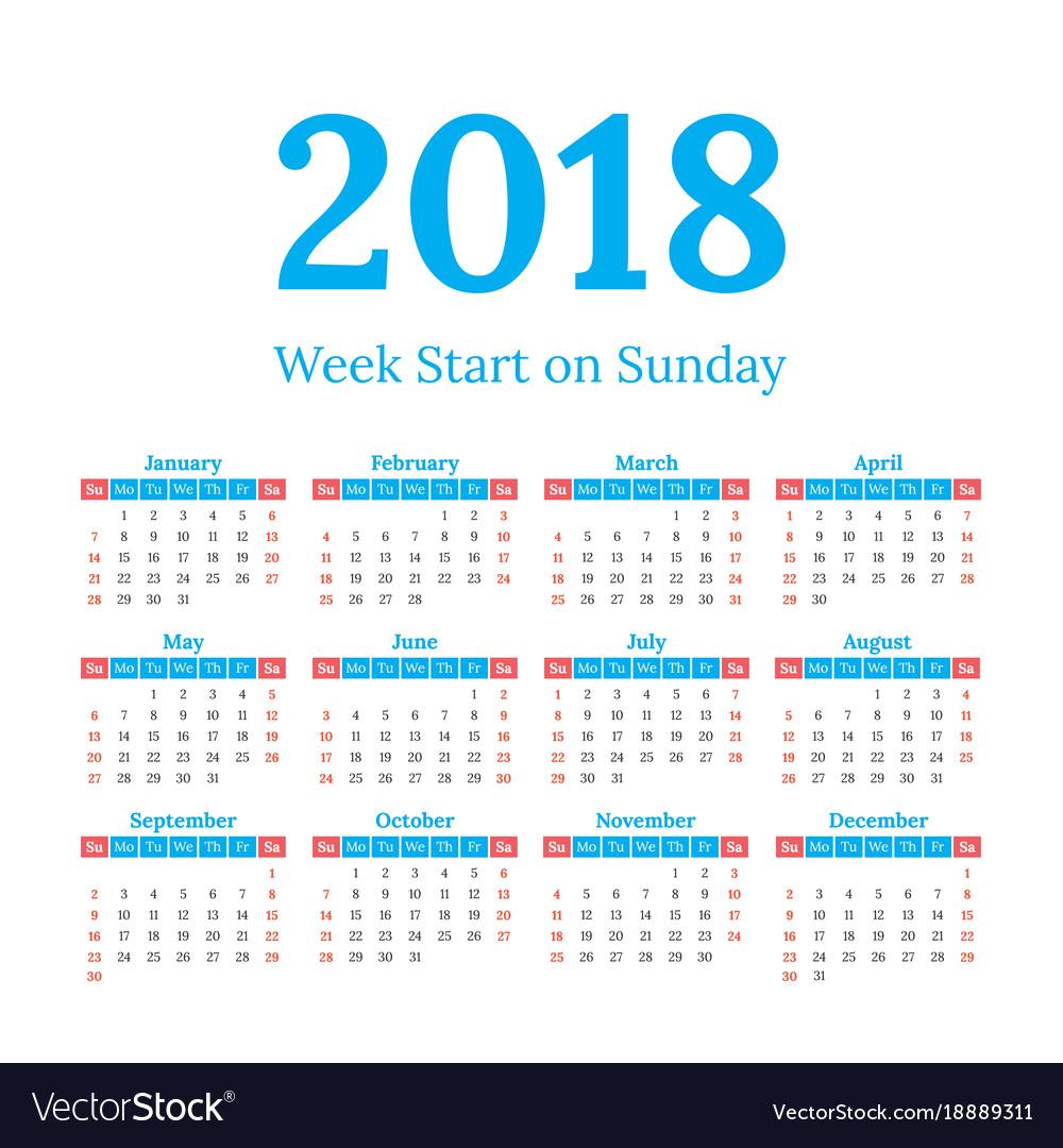 2018 calendar start on sunday