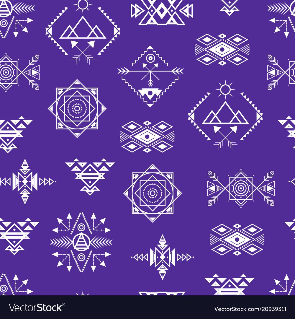 Aztec style ornament seamless pattern background