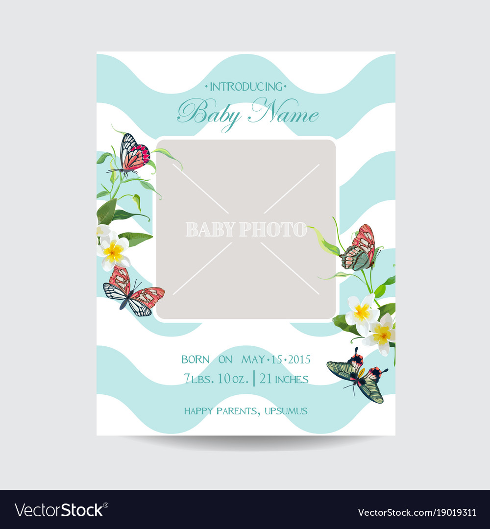 Baby arrival floral card with butterflies flowers