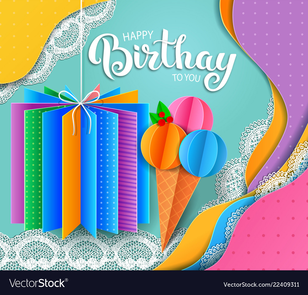 Birthday greeting card with ice cream and gift