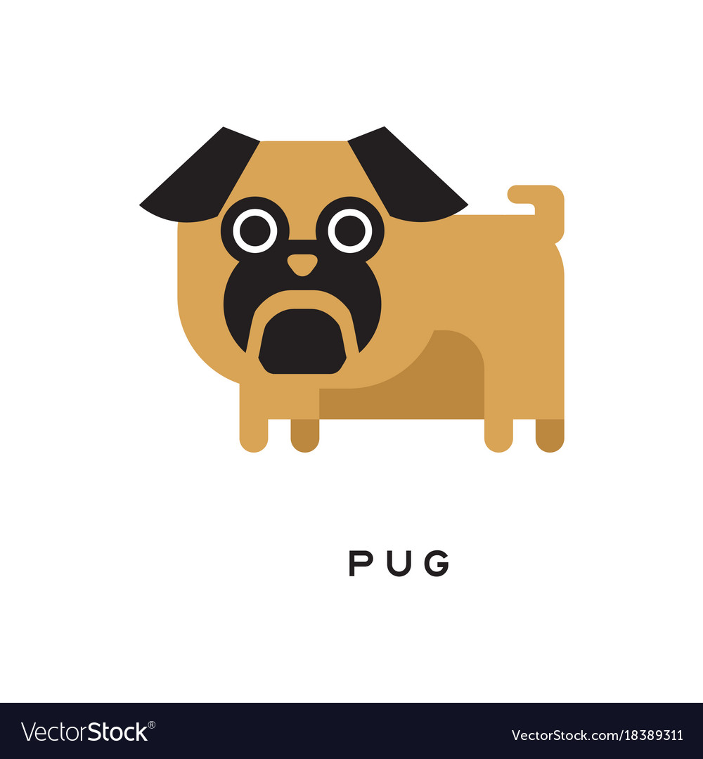 Cartoon brown pug puppy with short-muzzled face