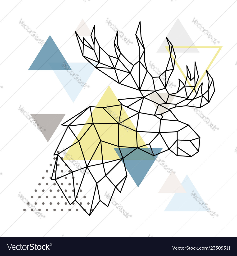 Geometric moose silhouette on triangle background