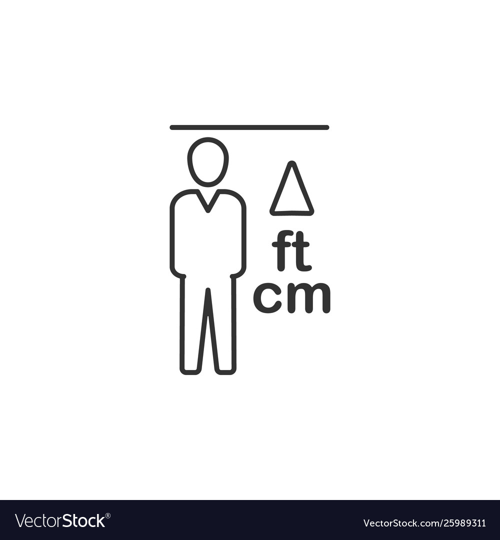Height man line icon simple modern flat for