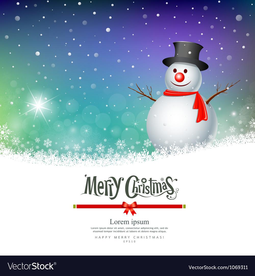merry christmas snowman greeting card designs vector image vectorstock