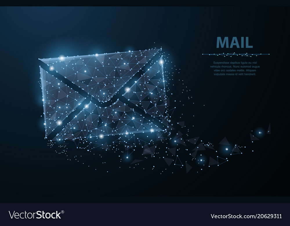 Message polygonal wireframe mesh with dots and