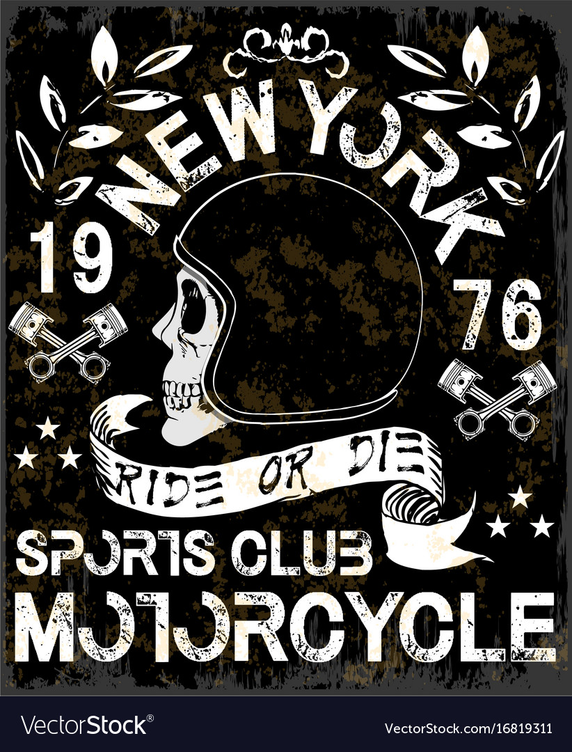 Motorcycle Label T Shirt Design With Of Custom Vector Image