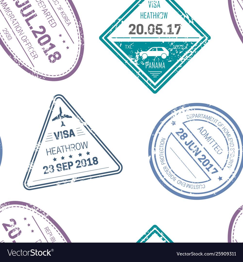 Visa stamps or seals seamless pattern traveling