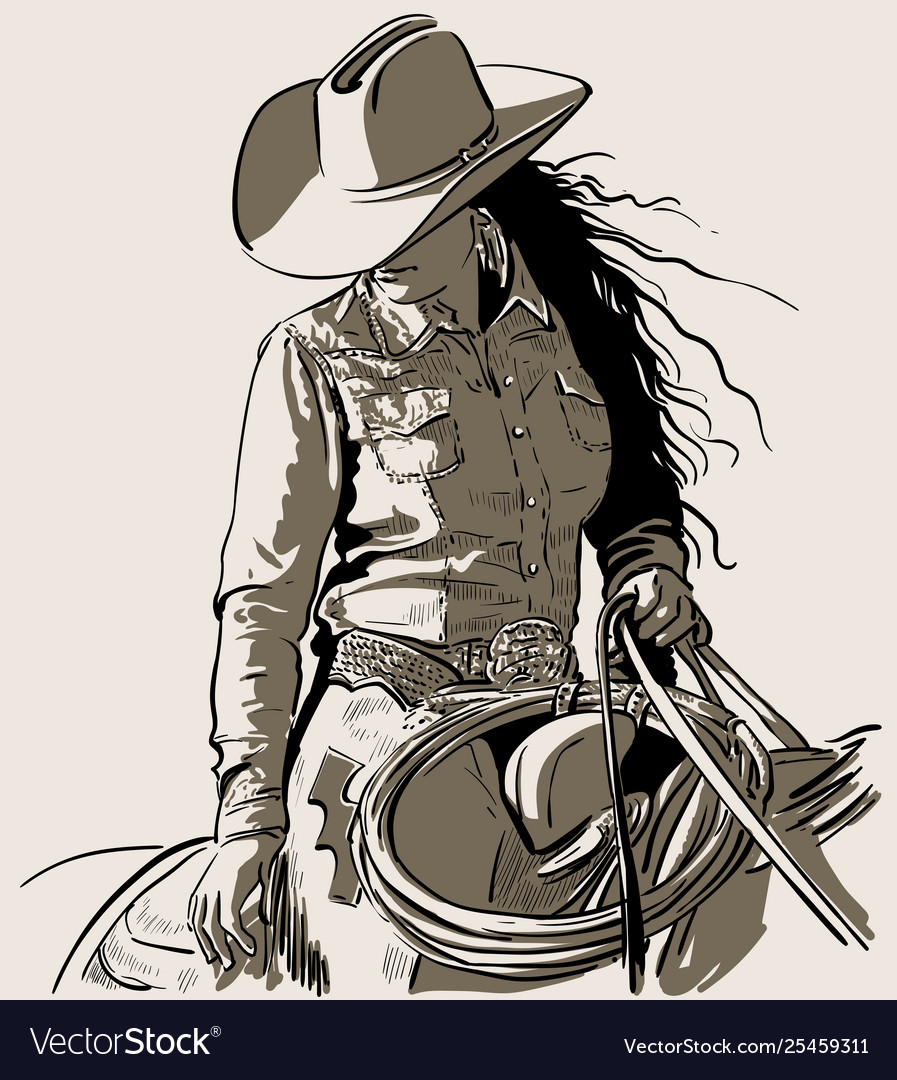 woman with a cowboy hat cowboy girl riding horse vector