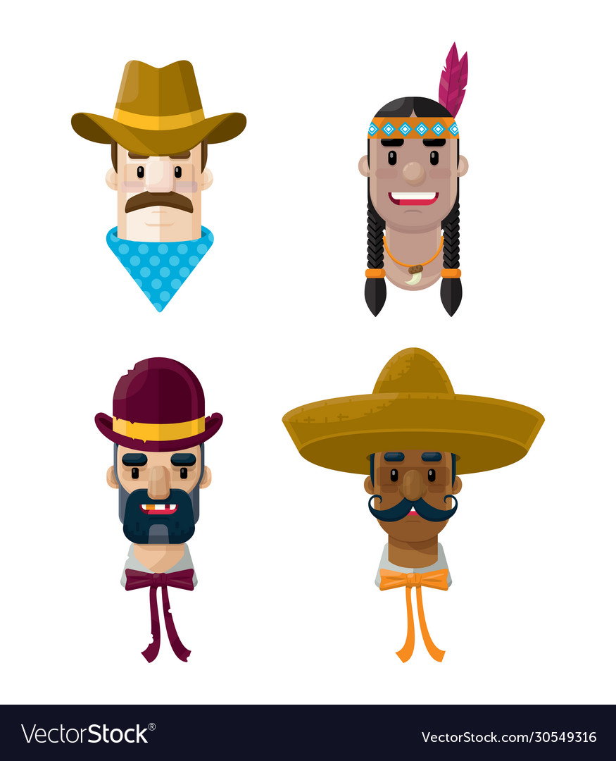 American wild west flat people icon set