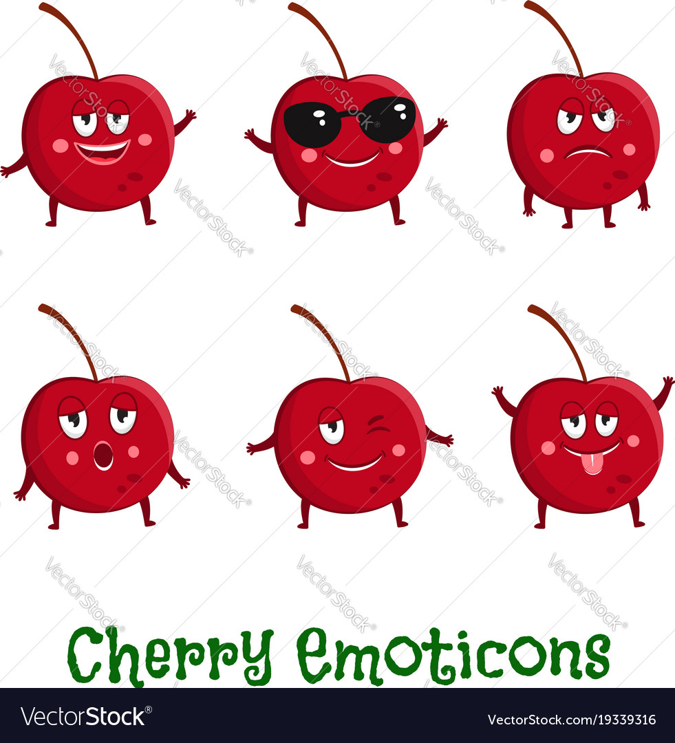 Cherry smiles cute cartoon emoticons emoji icons vector image