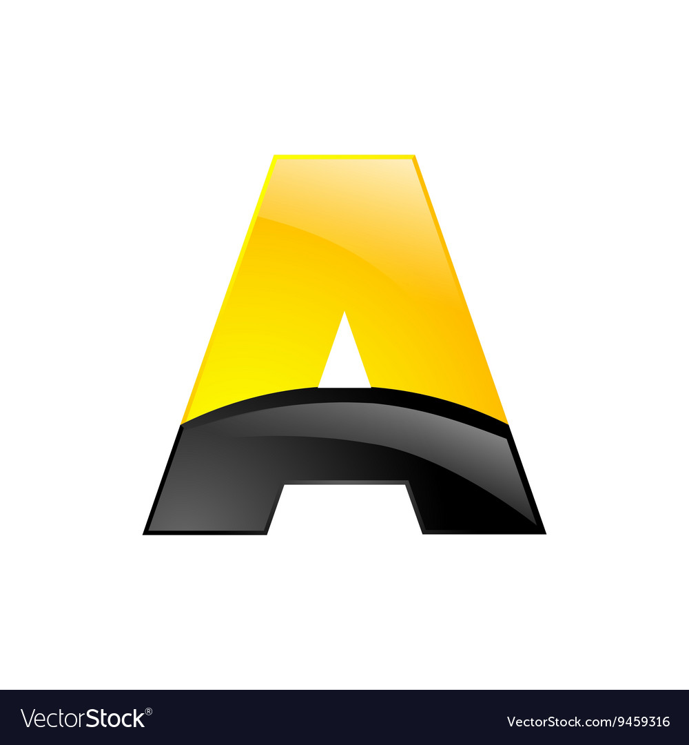Creative yellow and black symbol letter A for your
