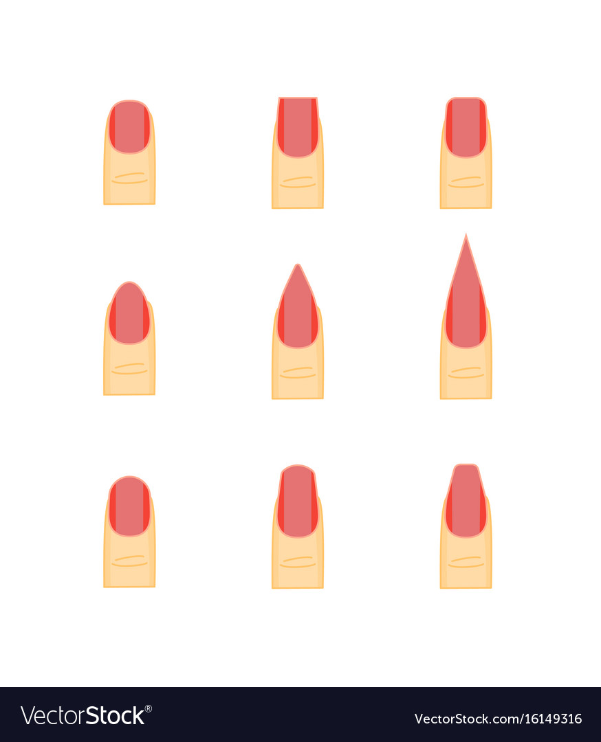 Female red nails fashion shape or forms manicure