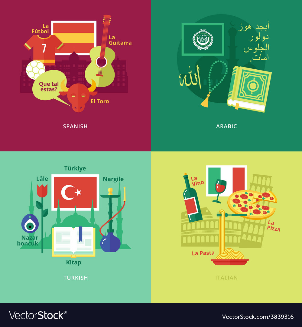 Flat design concept icons for foreign languages