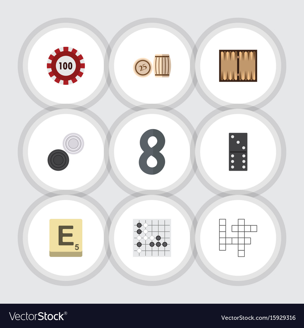Flat icon games set of poker lottery guess and
