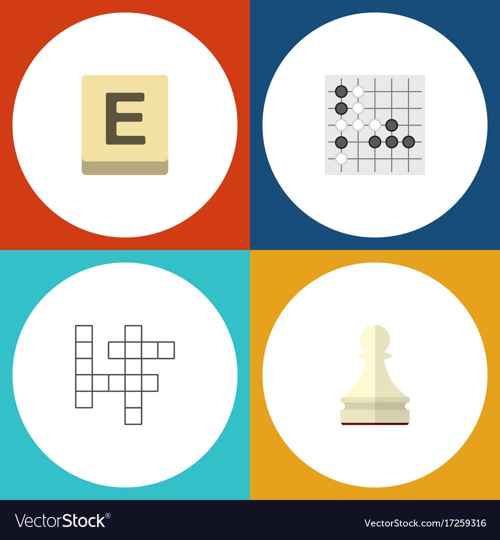 Flat icon play set of pawn gomoku mahjong and vector image
