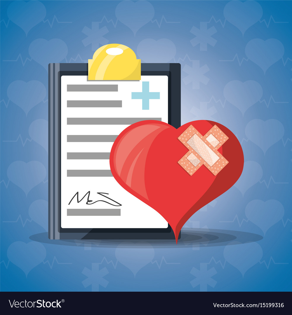 Heart with aid band and medical precription
