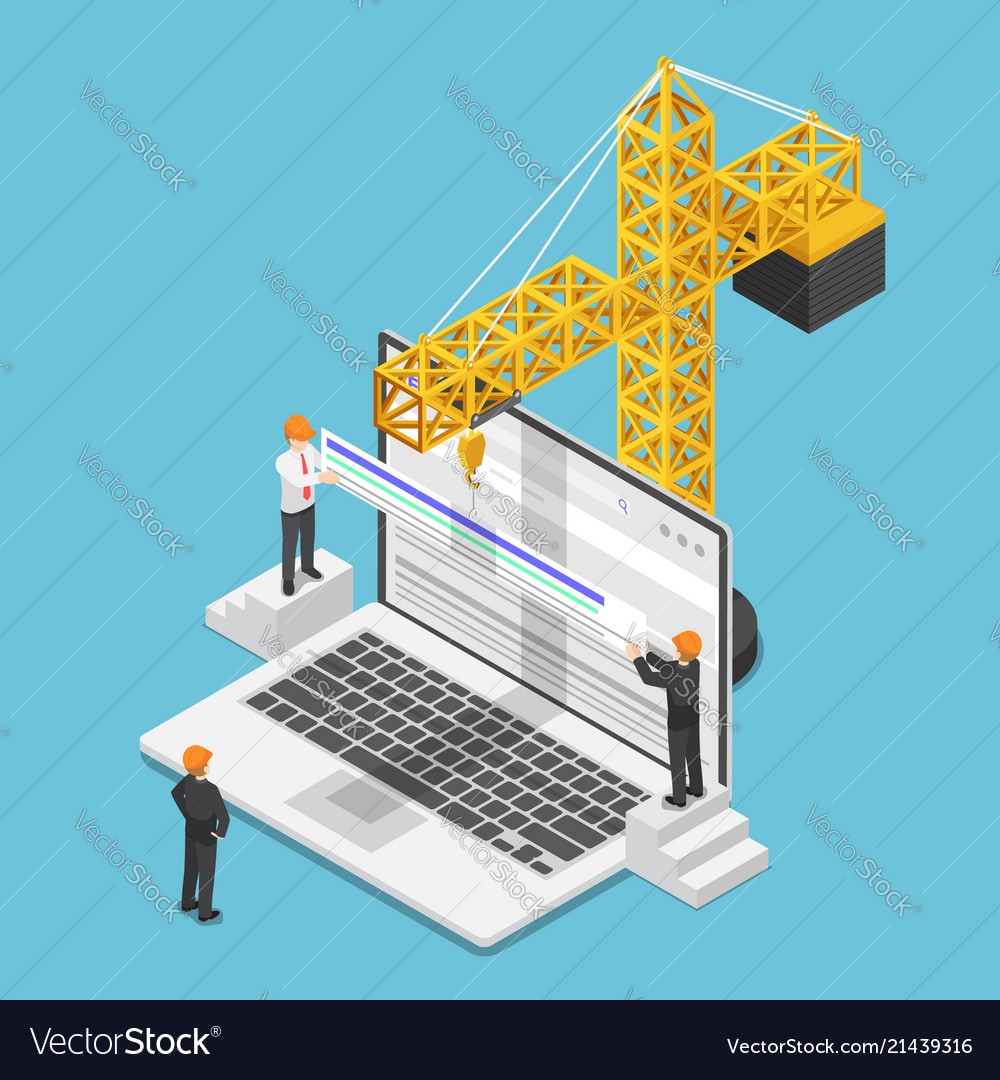 Isometric businessman trying to increase website