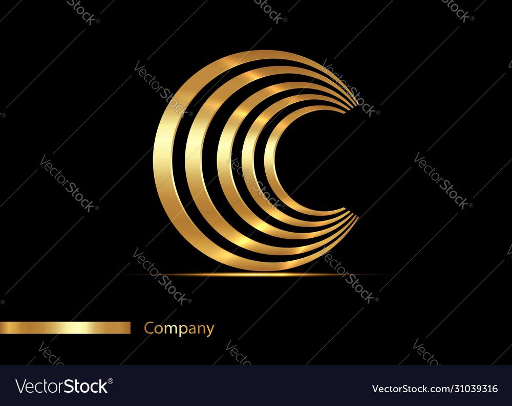 Letter c gold logo design golden graphic font