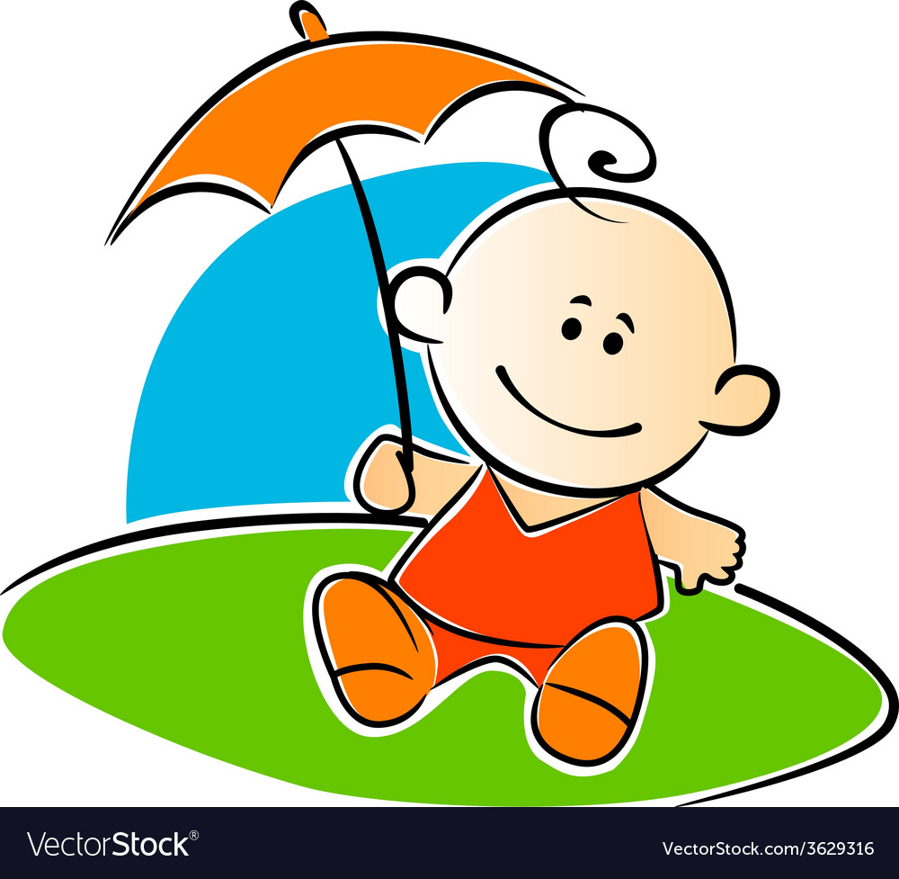 Little baby holding a sunshade or umbrella