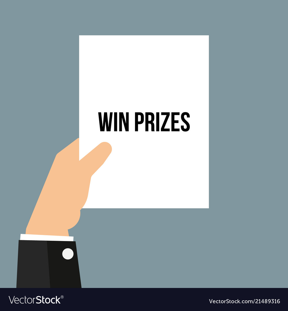 Man showing paper win prizes text