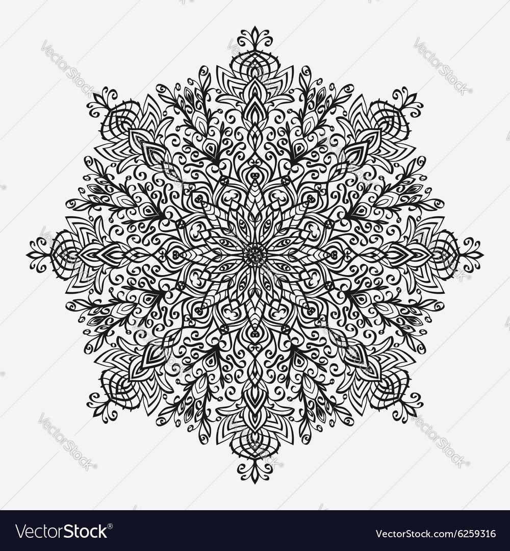 Mandala floral circular monochrome pattern Vector Image