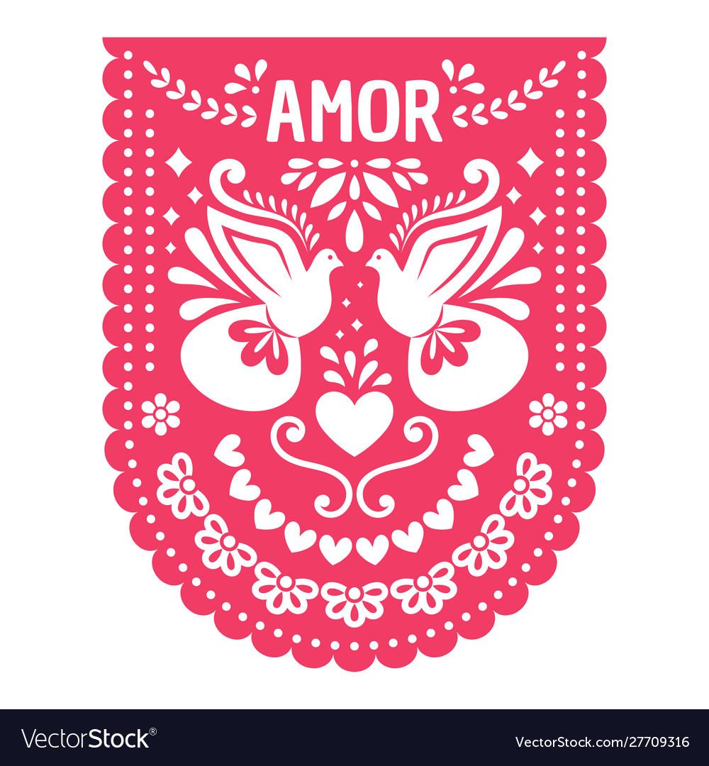 Mexican papel picado fiesta banner card