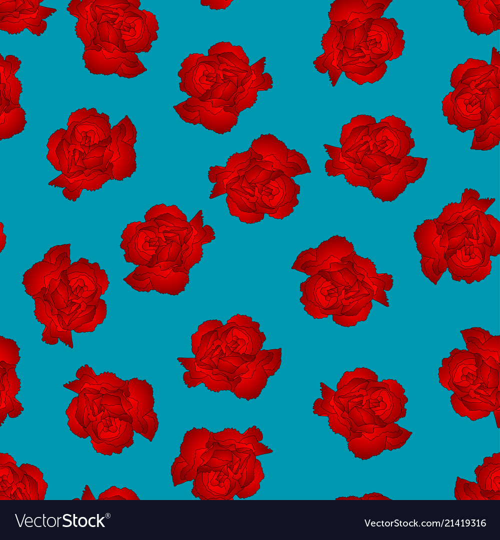 Red Carnation Flower On Blue Background Royalty Free Vector