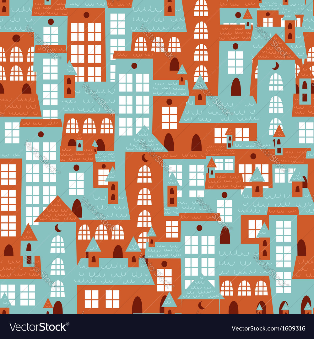 Retro city houses seamless colorful pattern
