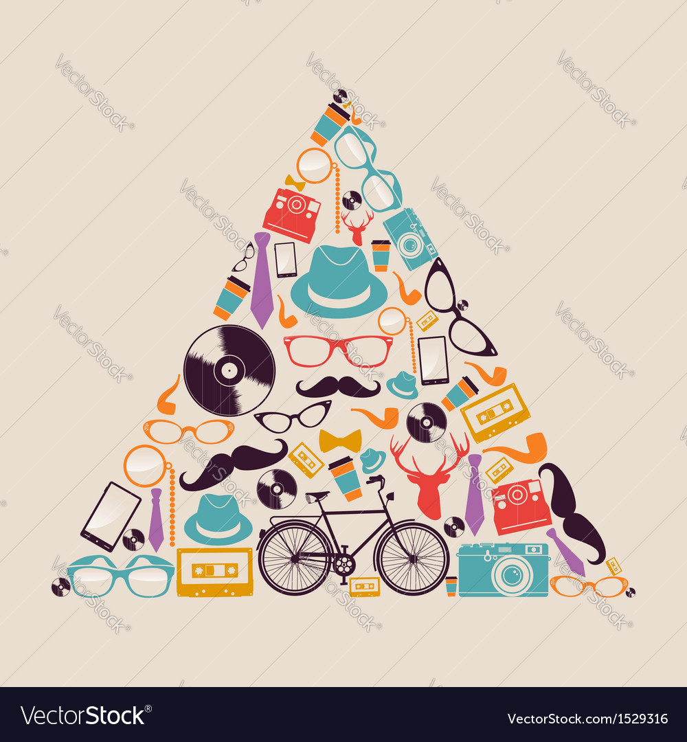 Retro hipsters icons triangle