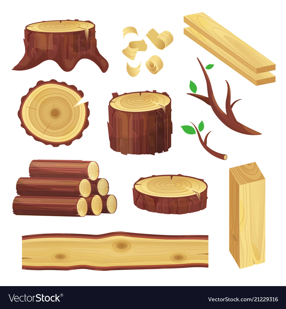 Wood logs set
