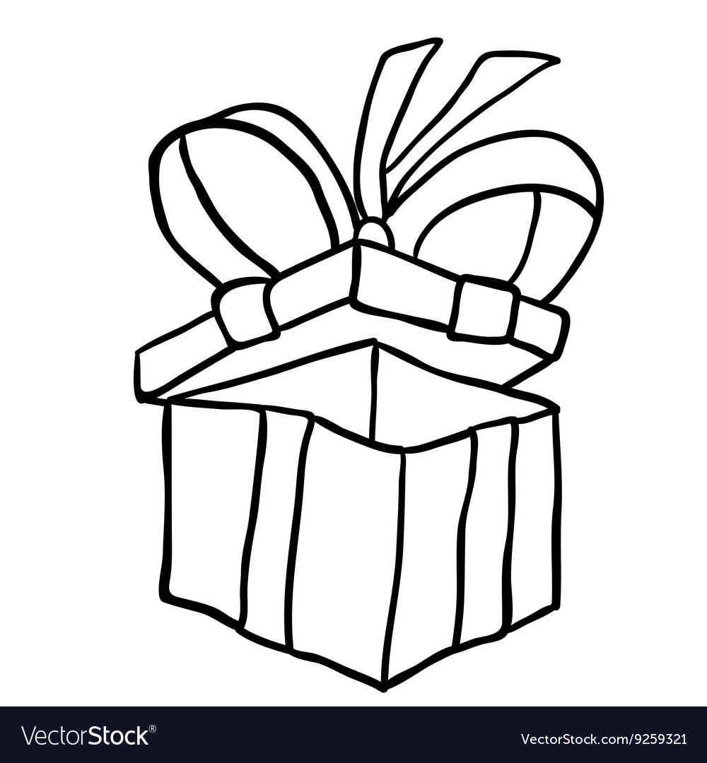 Black And White Gift Box Royalty Free Vector Image