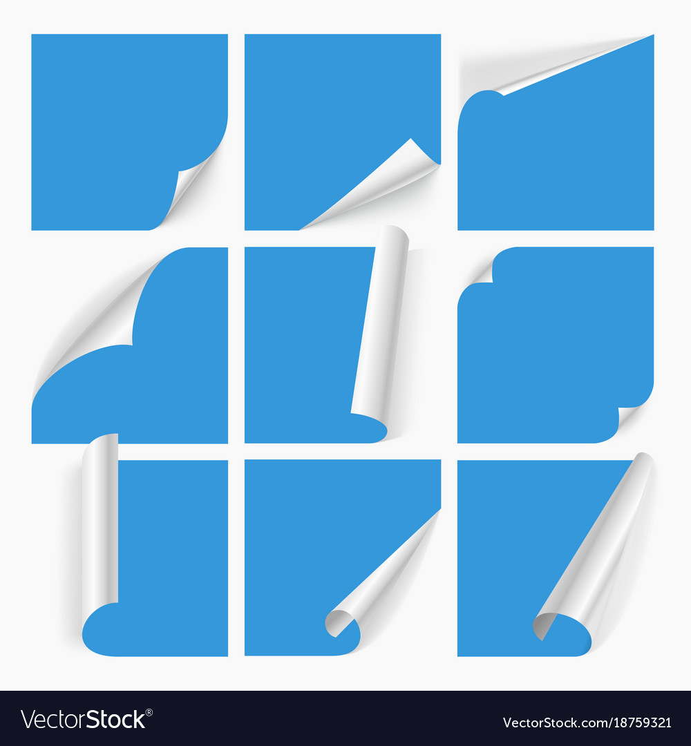Curled corners of paper with shadow vector image
