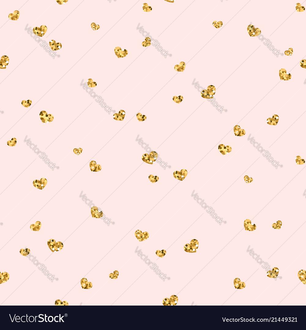 Gold heart seamless pattern golden chaotic