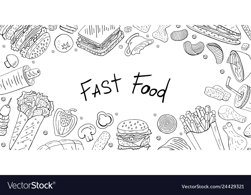 Horizontal banner with different fast food