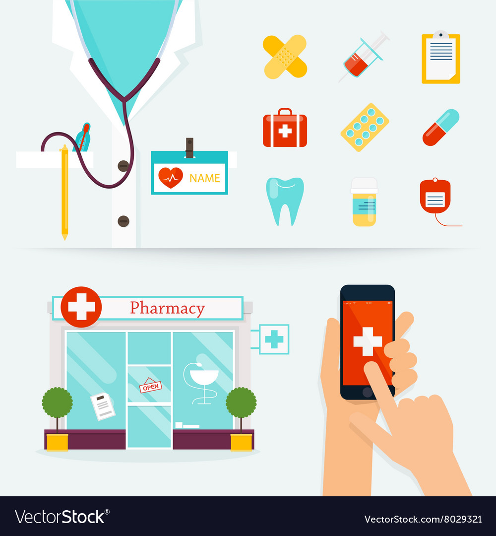 Medical Health care and emergency concept First vector image