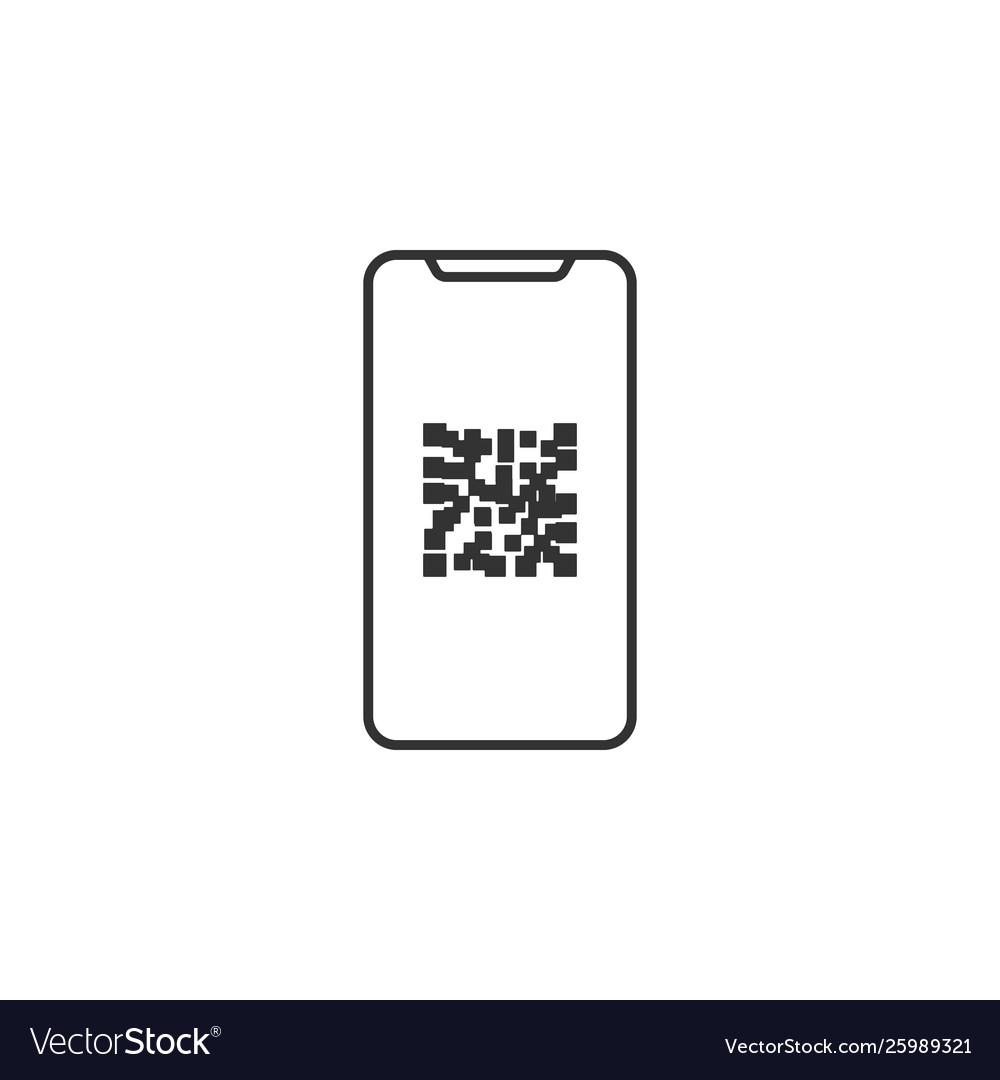 Mobile qr code line icon simple modern flat for