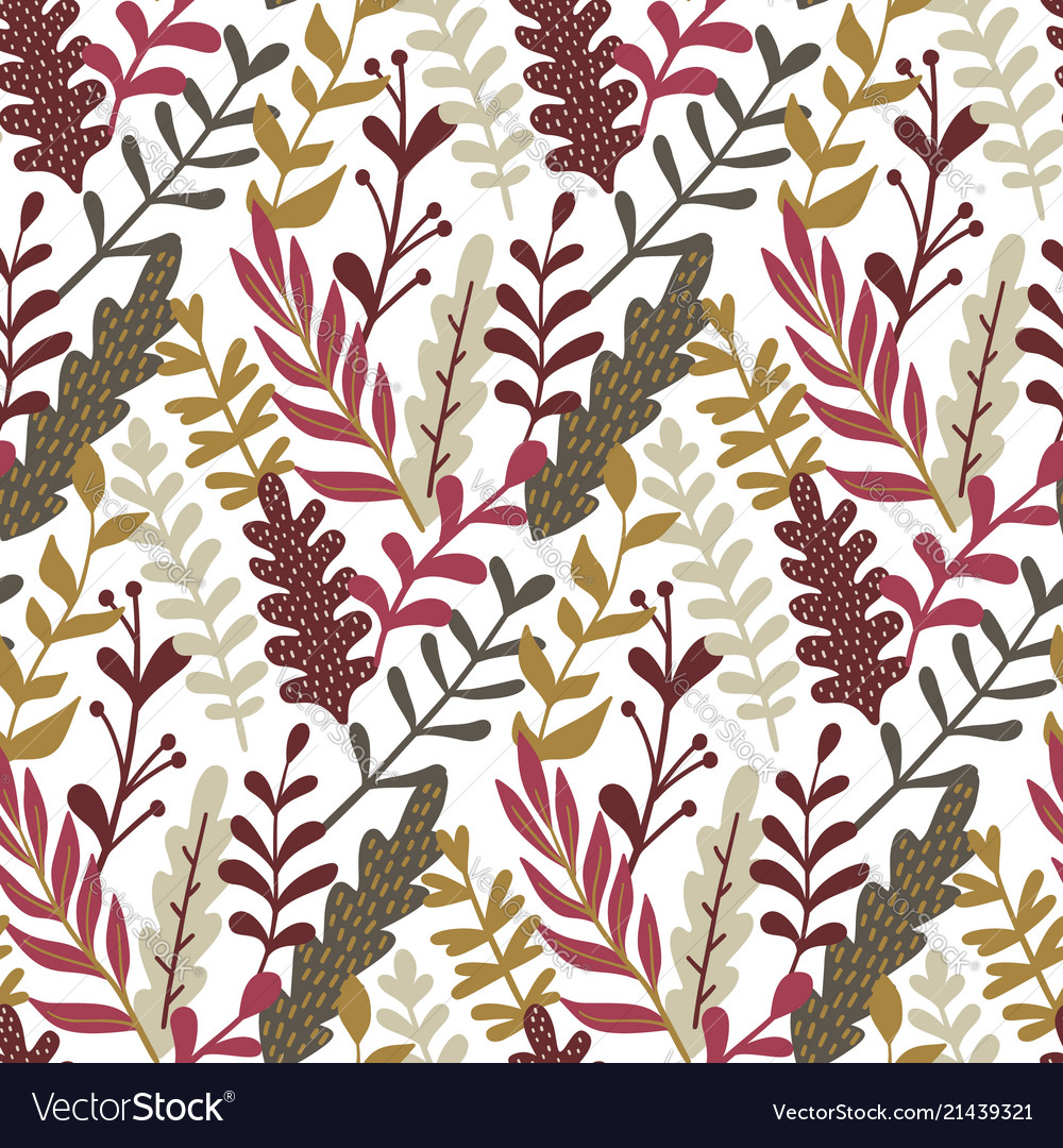 Modern seamless pattern with hand drawn leaves