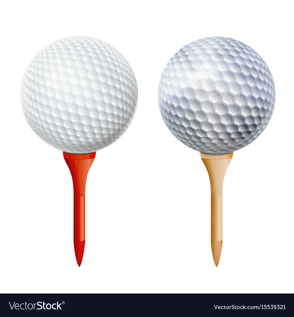37271710 Realistic golf ball on tee isolated Royalty Free Vector