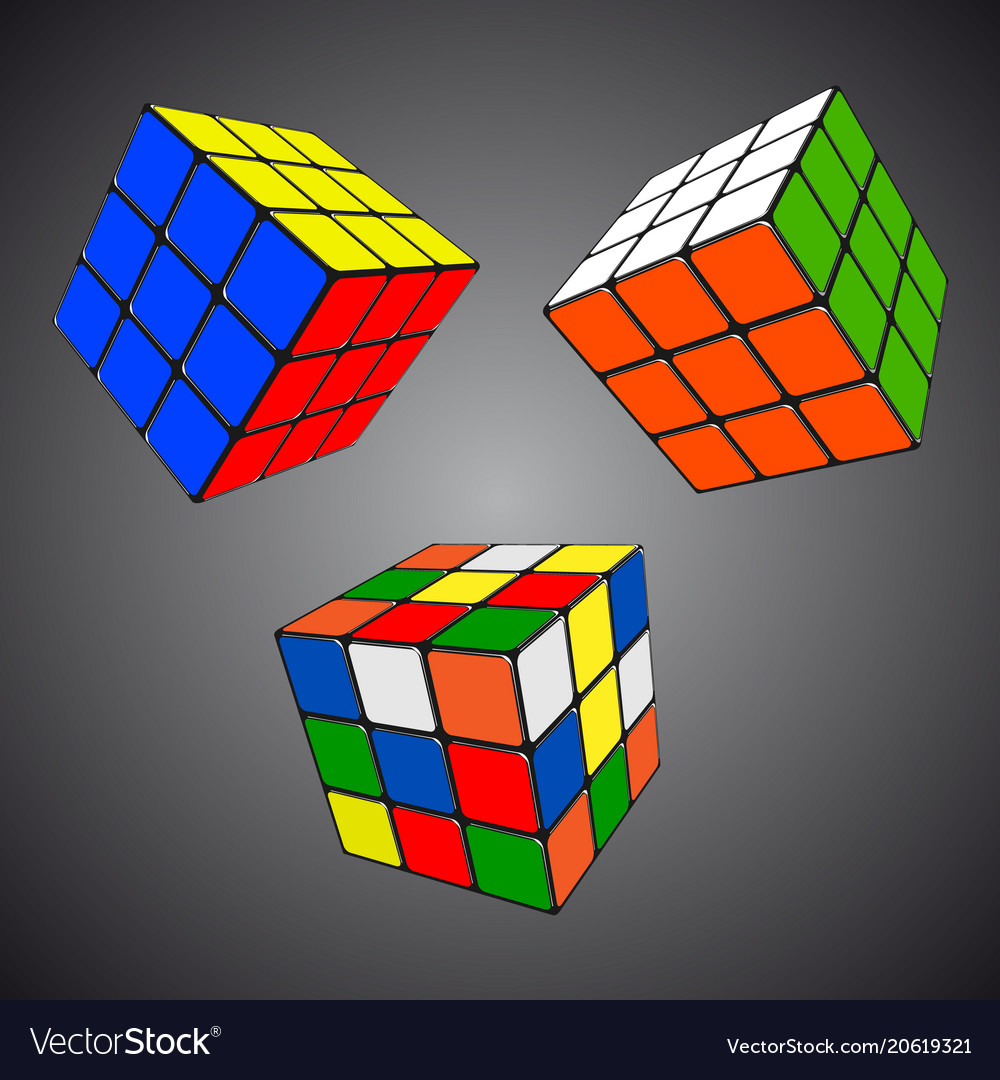 Rubik s cube in different positions realistic